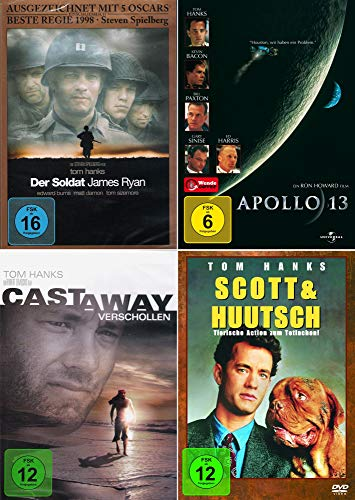 Tom Hanks 4-Filme Collection: Der Soldat James Ryan + Apollo 13 + Scott & Huutsch + Cast Away - Verschollen [4er DVD-Set]