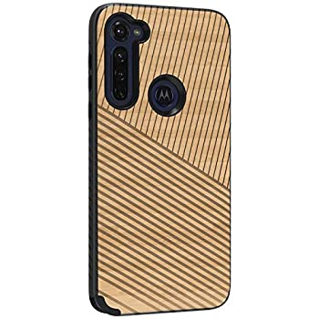 TurtleArmor | Compatible with Motorola Moto G Stylus Case  2020  | XT2043 | Slim Dual Layer TPU Hard Armor Hybrid Engraved Grooves Shell Case - Maple Wood