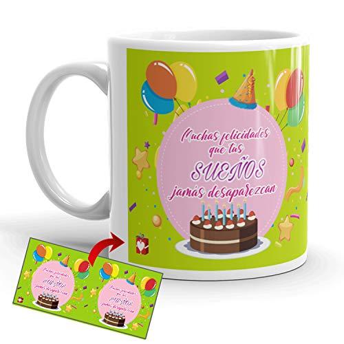 Kembilove Tazas de Desayuno de Cumpleaños – Taza con Mensaje Muchas Felicidades Que Tus Sueños jamás desaparezcan – Tazas de Café y Té Ideal para Regalar a Amigos – Taza de cerámica de 350 ml