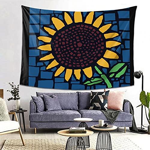 Tapiz de mosaico de girasol, 60 x 40 pulgadas, bohemio para colgar en la pared, estilo bohemio, para dormitorio, sala de estar, dormitorio