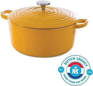 BK H6075.524 - Sartén de hierro fundido, hierro fundido, Amarillo soleado., 24 cm - Dutch Oven