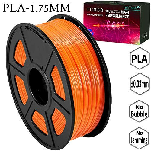 Tuobo PLA Filament 1.75mm Orange 3D Printer Consumables, 1kg Spool (2.2lbs), Dimensional Accuracy +/- 0.05 mm, Fit for Most DIY Printer and 3D Pen