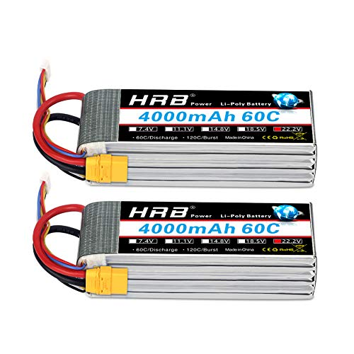 HRB 2pcs 6S 22.2V 4000mAh 60C Lipo Battery with XT90 Plug for RC Quadcopter Goblin 500,Goblin 630, TREX 500, TREX 600 and Gaui Helicopter