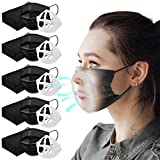 Black Disposable Face Mask with 5 Brackets, 50 Pack Breathable Face Masks for Women & Men,3 ply Adjustable Masks with Nose Wire, Elastic Earloop Mouth Face Cover Safety Masks (Black)