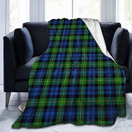 Clan Campbell Überwurf, sehr weich, Micro-Fleece, strapazierfähig, marineblau und grün, Schottenkaro, weich, warm, für Bett, Bett, Sofa, Büro, Wohnzimmer, Heimdekoration, 127 x 152,4 cm
