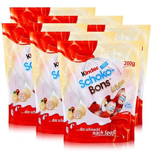 Ferrero Kinder Schoko-Bons White 200g - Knusprige Haselnussstückchen in einer leckeren Milchcreme umhüllt von köstlicher weißer Schokolade (6er Pack)