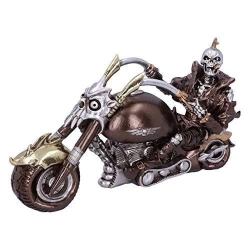 Nemesis Now Wheels of Steel Steampunk - Figura de Esqueleto de Motocicleta (29 cm), Color Plateado