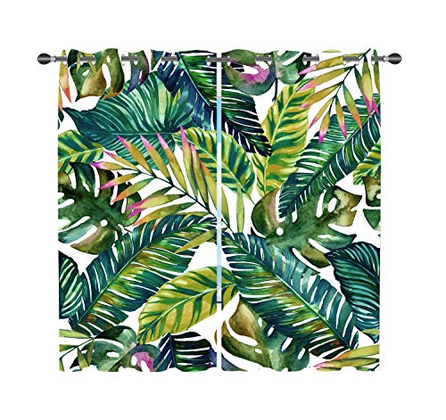 Beautiful Tropical Palm Leaves Blackout Curtains 2 Panels, Blackout Curtains Room Darkening Thermal Insulated Curtain Panels Grommet for Living Room Decor, Eco-Friendly, No Odor Rust Proof Grommets