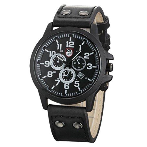 Xinantime Relojes Hombre,Xinan Bolso de Cuero del Deporte de la Correa Reloj Cuarzo Ejército (Negro)