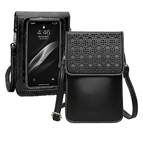 Convetu Touch Screen Purse Leather for Women, Touch Purse Phone Case As Seen on TV, Cell Phone Purse Crossbody with Touchscreen, Touchscreen Purse with Clear Window for Phone Up to 7.2 Inch (Black)