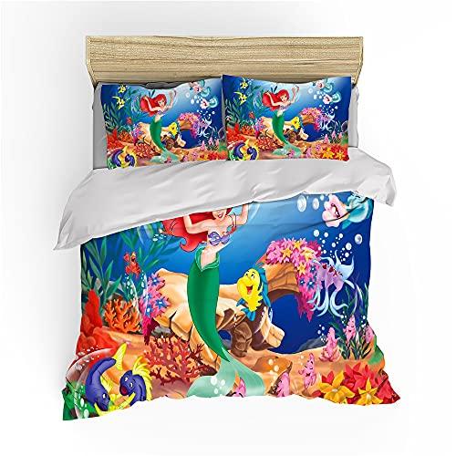 Ariel - Juego de ropa de cama para niña, diseño de estampado flotante, 1 funda nórdica y 2 fundas de almohada (Ariel 1, 200 x 200 cm + 80 x 80 cm x 2)