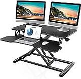 FITUEYES Standing Desk Converter Grande 36''/91.5cm Color Negro Convertidor de Escritorio de pie con Bandeja de Teclado Altura Ajustable SD309101WB