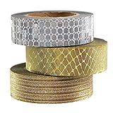 UOOOM 3 Rollos Glitter Washi Tape Set 10m x 15mm/Rollo, Patrones Hermosos película Brillante Cintas Adhesivas Decorativas, Cinta Adhesiva Decoración de Regalo Manualidades Scrapbooking (Oro - Plata)