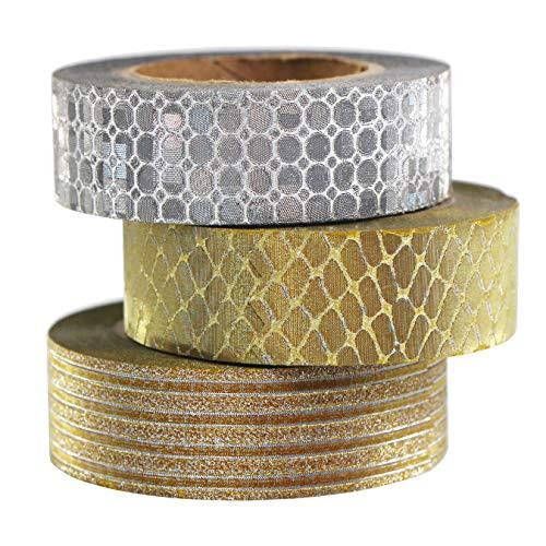 UOOOM 3 Rollos Glitter Washi Tape Set 10m x 15mm/Rollo, Patrones Hermosos película Brillante Cintas Adhesivas Decorativas, Cinta Adhesiva Decoración de Regalo Manualidades Scrapbooking (Oro -