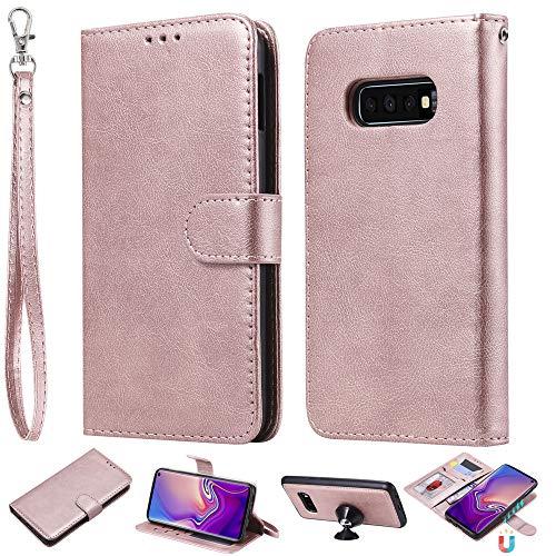 Capa carteira XYX para Galaxy S10e, 2 em 1 de couro PU com capa fina removível para celular Samsung Galaxy S10e 5,8 polegadas (ouro rosa)
