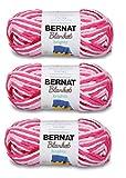 Bernat Blanket Yarn (3-Pack) Super Bulky #6 5.3 Ounce 108 Yards Per Skein (Raspberry Ribbon Varg)