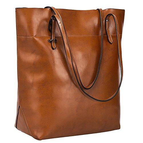 S-ZONE Damen Echtleder Tasche Shopper Groß Tote Handtasche Henkeltasche (Dunkel Braun)