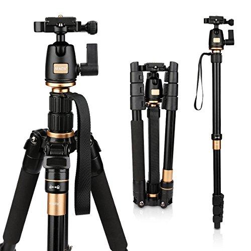 AFAITH Treppiede Monopiede con testa della sfera per DSLR SLR Canon Nikon Pentax Sony Foto Treppiede Cavalletto Reflex Portatile in lega di alluminio Q-555