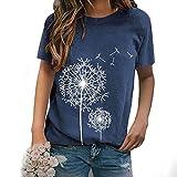 Camiseta de manga corta para mujer con estampado de diente de león, cuello redondo, camiseta informal de verano, ligera, para mujeres, adolescentes, niñas, suelta, tallas S-XXL azul S