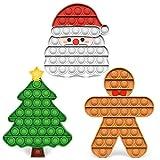 3 Packs Christmas Pop Fidget Toys - Push It Bubble Sensory Fidgets Toy, Christmas Santa Claus, Tree, Gingerbread Man Decorations, Party Game Decor for Kids Adults - Autism Stress Relief Games Bubbles