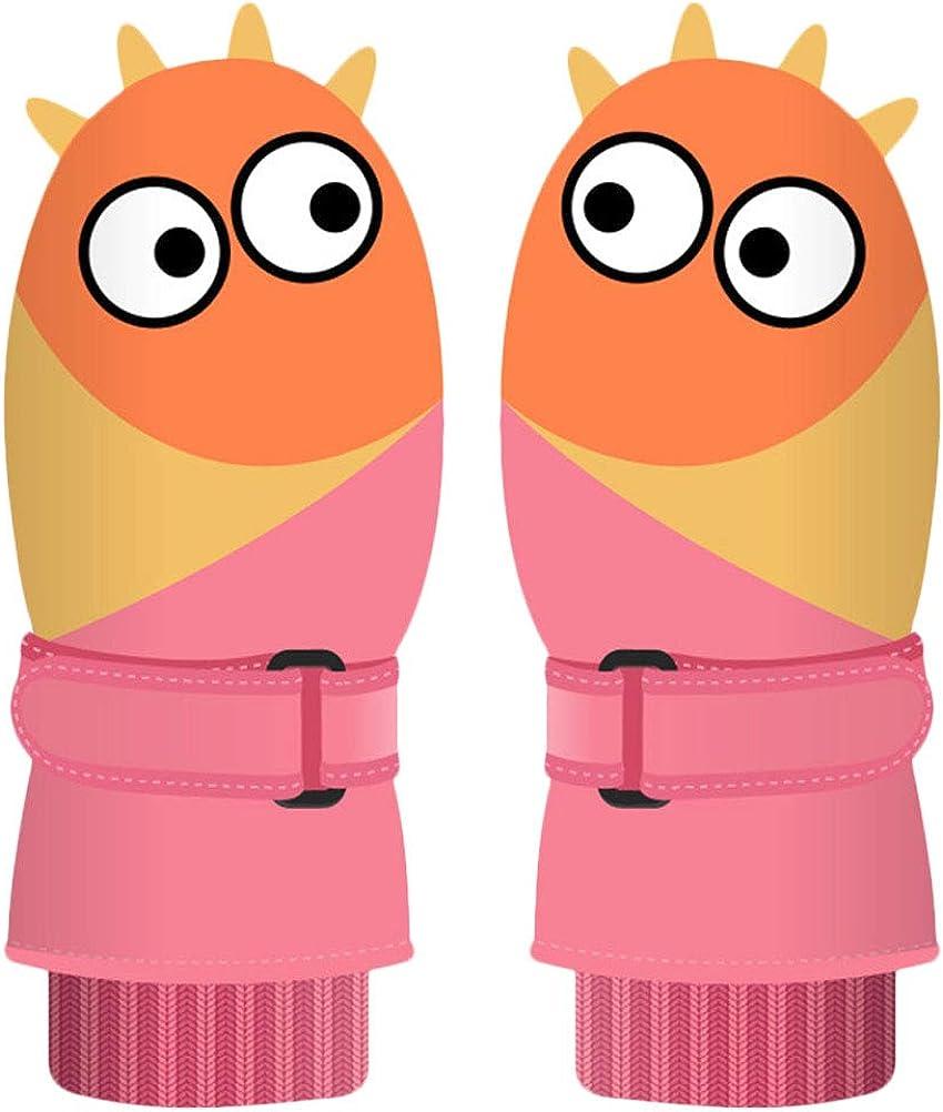 FUNZZY Christmas Snow Mittens Cartoon Warm Gloves Waterproof Ski Gloves for Kids(Pink)