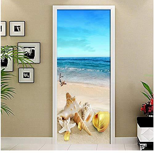 Doe-het-zelf strandschelp, 3D-deursticker, poster muurschildering, PVC, waterdicht, zelfklevend, decoratie voor in de slaapkamer 85 * 200cm