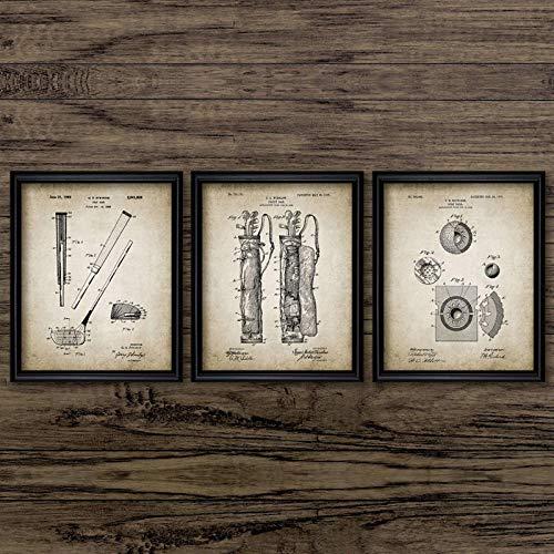 None brand Patentes de Golf Carteles e Impresiones Vintage Diseño de Equipos de Golf Idea de Regalo Arte de la Pared Imágenes Lienzo Pintura Golf Clubhouse Decoración-50x70cmx3pcs sin Marco