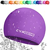 CybGene Silicone Swim Cap for Girls and Kids, Swimming Caps for Swimming Lesson-Size Small for Kids Under 10 Years Old- Color Purple