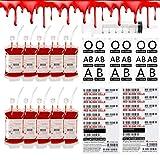 ALINILA 10 Packs Halloween Blood IV Bags Reusable Energy Drink Container Juice Pouch Prop Cups for Halloween Party Drinks Cups IV Bag Zombie Vampire Hospital Nurse Graduatio Theme Party Decorations,12 fl.oz (10pcs Bag, 10 Label,1 Syringes)