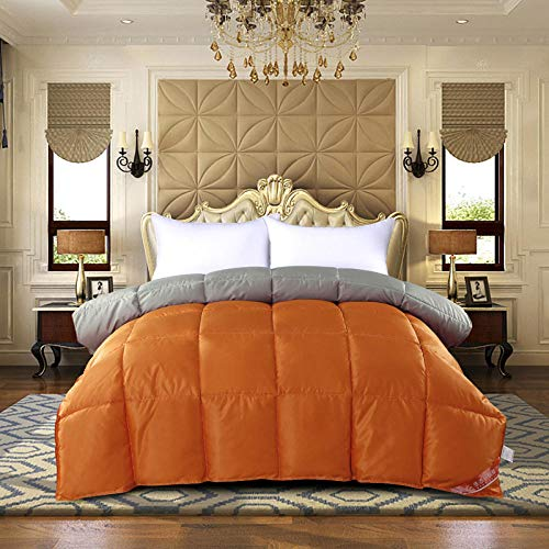 Fluffy Duvet Insert,Down Quilt 95 White Goose Down Cotton Spring And Autumn Quilt Thickened To Keep Warm In Winter Quilt Single And Double Quilt Core Of Student Dormitory-Orange + Gray_150x200cm 8 Kg