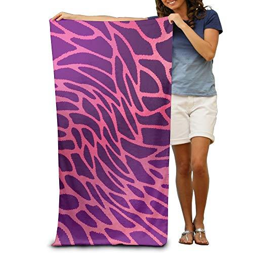ETGBFH Strandtücher aus 100% Polyester mit Leopardenmuster und Kuhhaut, groß, für Stranddecke, Zelt, Boden, Yogamatte, natürlich, weich, schnell trocknend, Violett/Pink