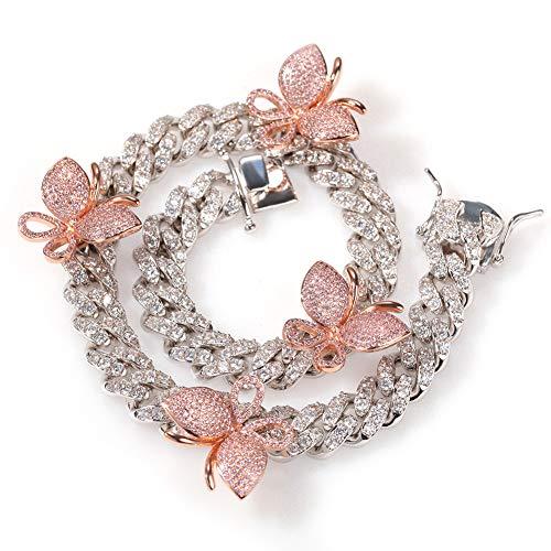 LRKZ Herren Hip Hop Iced Out vergoldet simuliert Diamant Micro 3D Schmetterling Bling Anhänger handgefertigt Halskette Halsband mit 40,6 cm Kuba Kette L rose