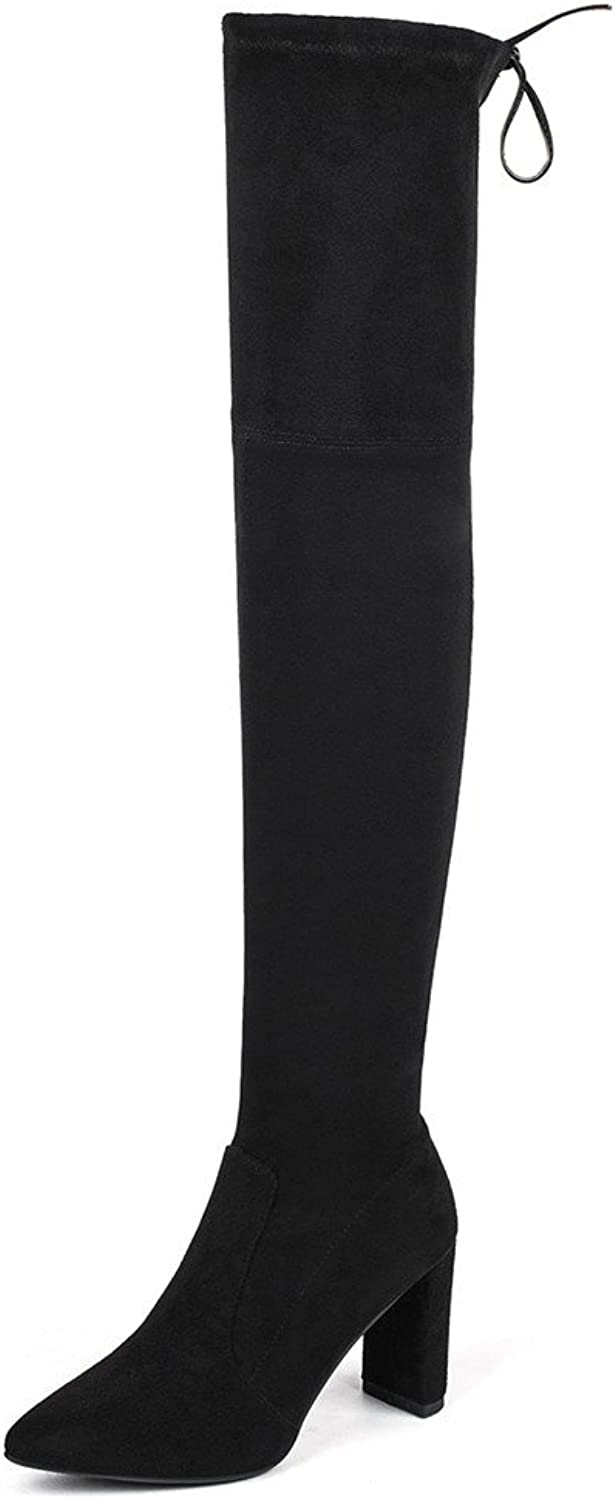 Nine Seven Suede Stretch Leather Women's Pointed Toe Chunky Heel Handmade Over The Knee Boots