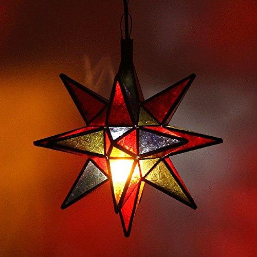 Orientalische Lampe marokkanische Hängelampe Nasima Multi H38 aus Metall & Relief-Glas | Kunsthandwerk aus Marrakesch | Ein bunter Leucht-Stern wie aus 1001 Nacht | L1378