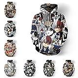 CHANGL Impresión 3D Anime My Hero Academia Todoroki Shouto Midoriya Izuku sudaderas con capucha Cosplay disfraz hombres mujeres Unisex Sudadera con capucha