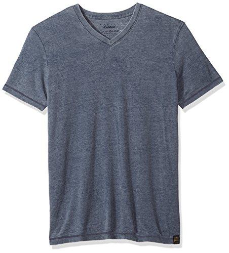 Lucky Brand Men's Venice Burnout V-Neck Tee Shirt, American Navy, Large