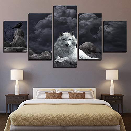 RDCHY Cuadros en Lienzo Lobo de la Nieve Impresiones HD Los Carteles Moderno Minimalista Imágenes Arte De La Pared para la Decoración de Sala de Estar, 5 Partes/Sin Marco
