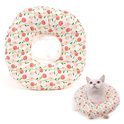 un brand Lvjkes Collar Protector para Gatos, Collar de Recuperación para Mascotas, Gatos Elizabeth Collar, Collar Suave Ajustable para Anti-mordida, Recuperación Quirúrgica (M, Rosa)