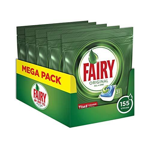 Fairy Original 155 Pastiglie per Lavastoviglie Regolare, Detersivo Maxi Formato da 155 Caps, 5 Confezioni da 31 Caps