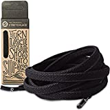 The Original Stretchlace - Flat Elastic Shoelaces, Stretch Shoe Laces for Adult Sneakers, Stylish Shoe Laces for Elderly, Kids, and People with Special Needs, Black, 45in