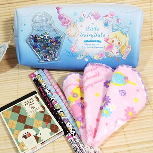 キラキラ プリンセスの可愛い文具セット/プチタオル+筆箱+鉛筆など/ブルー)24369-7 フェアリーテイル