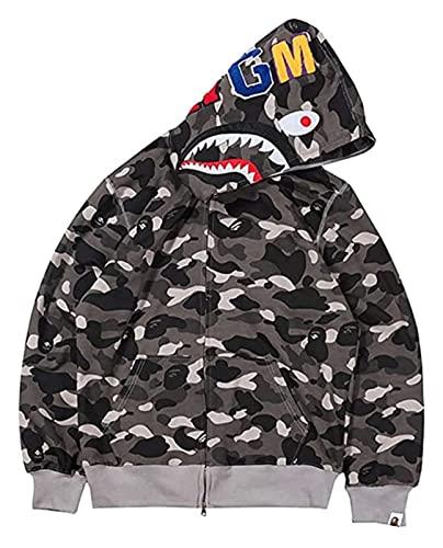 Lanrui Sudaderas con Capucha de Moda for Hombre Cabeza de tiburón Cabeza Delgada Cuadro 3D Cremallera Camuflaje Camuflaje Sudadera con Capucha for Adolescentes (Color : 0 Black, Size : 3XL)