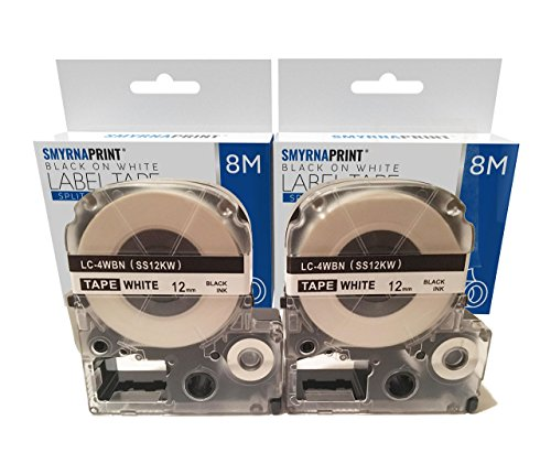 2 Pack Epson Labelworks Label Tape Cartridge by Smyrna Print - LW-300 LW-400 LW-500 LW-600 LC-4WBN9 – Black On White Label Maker Tape – 24 Feet Long Photo #7