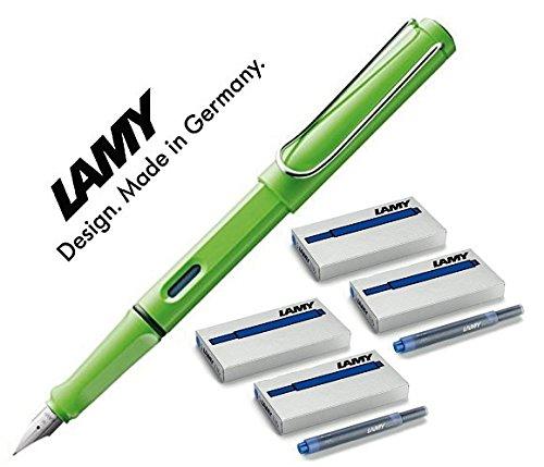 LAMY Füller SAFARI Füllhalter | Viele schöne Farben, im Set 20 blauen Patronen (Maxi mit 20 blauen Patronen, hellgrün (M)013)