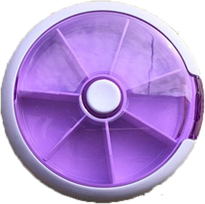 1 PCS Seven Days Rotate Circle Granule Medicine Storage Box Portable Pill Box Purple