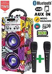 DYNASONIC 025 -Cassa Bluetooth Altoparlante Karaoke 10W | Wireless portatile con microfono incluso