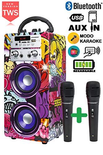 DYNASONIC 025 -Cassa Bluetooth Altoparlante Karaoke 10W | Wireless portatile con microfono incluso | Lettore SD USB e lettore Mp3, Radio FM, Modello 1 [Classe di efficienza energetica A+]