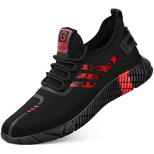 KAWAI Zapatos de Seguridad Hombre Mujer Ligeros Punta de Acero Calzado de Seguridad S4 Transpirable Zapatillas de Trabajo (2003/red/44)