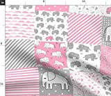 Spoonflower Fabric - Elephant Quilt Pink Gray Elephants Nursery Baby Cheater Printed on Cotton Poplin Fabric by The Yard - Sewing Shirting Quilting Dresses Apparel Crafts