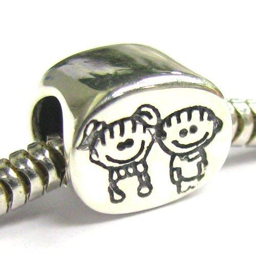 Queenberry - Charm in argento Sterling, modello Brother & Sister (fratello e sorella), per bracciali europei